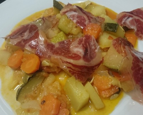 verduras con jamón en olla gm