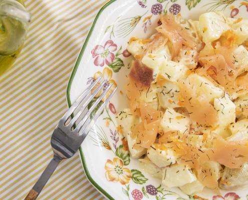 Ensalada de patata, manzana y salmón Ollas GM
