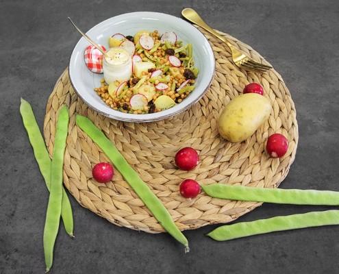 Ensalada de patata, lentejas y judias